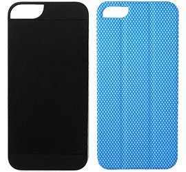 Best Price Logitech Mesh TidyTilt Smart Cover, Earbud Cord Wrap, Stand and Mount for iPhone 5 - Blue fabric / Black case