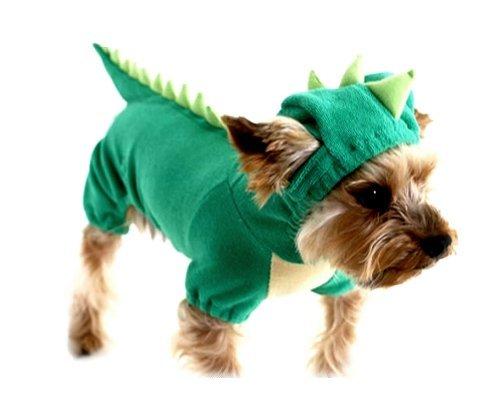 ARJOSA® Dogs Cat Pets Jumpsuit Clothes Apparel Raptor Dragon T-Rex Dinosaur Costumes (S, #1 Green)