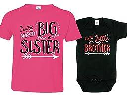 Hipster Sibling Shirts for Boys, Big Sister Shirt, Includes Small 6-8 & 0-3 mo