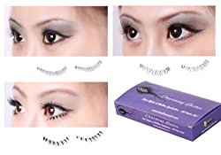Bundle Monster 40 Piece Black Reusable False Fake Lower / Bottom Lid Eyelash Set 4 Variety Styles 10 Pairs Each Style