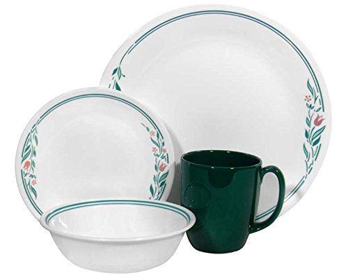 16-piece Vitrelle Glass Rosemarie Chip And Break Resistant Dinner Set, Service For 4, By Corelle