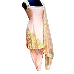 Reet Glamour Women 's Silk Unstitched Pink Heavy Embroidered Punjabi Suit