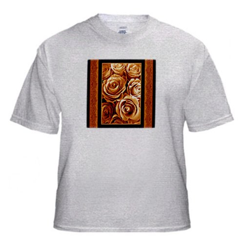 Harvest gold rose bouquet surrounded by orange damask ribbon trim - Adult Birch-Gray-T-Shirt 3XL