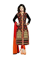 Sanchey Women's Georgette Unstitched Dress Material (754620_Black_Free Size)