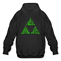 PHOEB Mens Sportswear Drawstring Hooded Sweatshirt,Zelda Triforce Items Boys Black XX-Large
