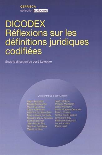 Dicodex : Réflexions sur les définitions juridiques codifiées