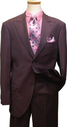 Azione by Zanetti Deep Cranberry With Mauve/Lavender Pinstripes Super 120's Wool Suit ZZ37614 (US 42L - 36 in. Waist)
