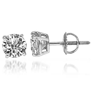 14K White Gold Solitaire Diamond Studs For Men 2.20 Ctw