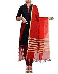 Unnati Silks Women Red Pure Handloom Maheshwari Jute Sico dupatta