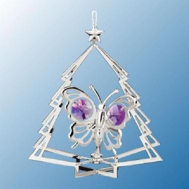 Chrome Butterfly in Tree Ornament – Purple Swarovski Crystal