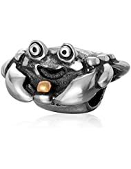 Happy Crab Charm Antique 925 Sterling Silver Gold Plated Ball Bead For European Bracelet