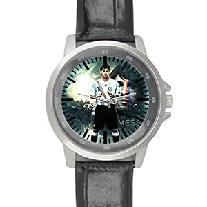 Dude Custom Messi Men's Black Leather Alloy Watch water-resisting Perfect Gift for men