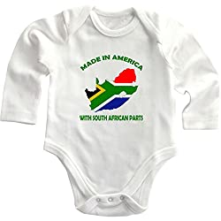 Made In America With South African Parts Long Sleeve Baby Bodysuit One Piece