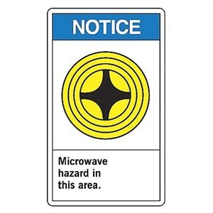 "Notice Microwave Hazard In This Area. (W/Graphic) 14"" X 10"" Aluminum Sign"
