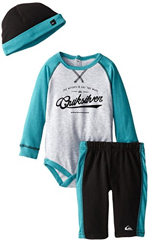 Quiksilver Babys Newborn Gray Blue Bodysuit With Pull On Pant And Hat, Gray, 6-9 Months front-739073