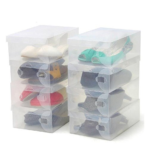 Thinp Shoe Storage Foldable Clear Shoe Box Set of 10