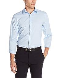Calvin Klein Men\'s Slim Fit Infinite Cool Check Button Down Shirt, Blue Capri, Medium