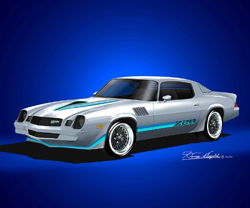 1978-1979 CUSTOM CAMARO Z28 WITH OPTIONAL HONEYCOMB RIMS - ART PRINT POSTER BY ARTIST DANNY WHITFIELD- size 20 X 24 (1978 Camaro Posters compare prices)