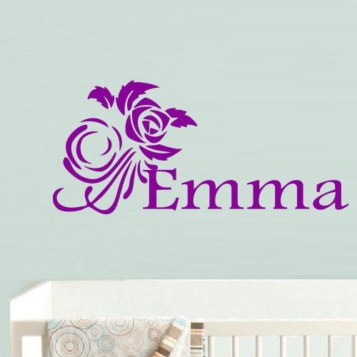 Wall Decal Decor Decals Art Emma Name Inscription Word Baby Girl Flower Rose Nursery Decoration Gift (M693) front-772333