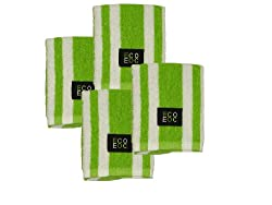 Cotton Dish Cloths (Lime Green with White Rugby Stripe, 4-Pack)