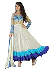 NEW HEAVY WHITE & AQUA LONG LENGTH ANARKALI SUITS- FREE SIZE