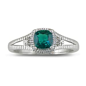 Sterling Silver Created Emerald and Diamond Ring, Available Ring Sizes 5-8, Ring Size 5 (3/4 cttw)