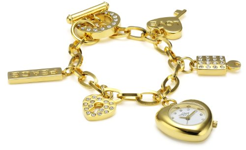 Chronostar Fashion Yellow Alloy Heart Shaped White Dial Watch with Band Bracelet Charms and Crystals