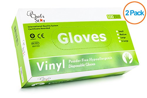Chef's Star Disposable General Purpose Vinyl Gloves - Powder Free - Size Large - 100 Gloves Per Box - 2 Pack (Chef Disposable Gloves compare prices)