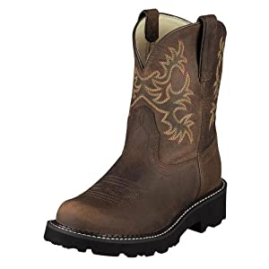 Ariat Women's Fat Distressed Cowgirl Boot Round Toe Distressed 7.5 M US