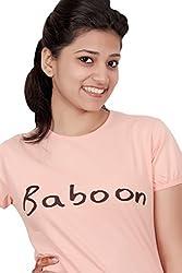 Baboon Women's Shirt (baboon-10_Peach Orange _Small)