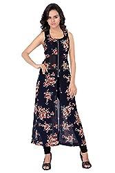 Trendif Navy Blue Poly Georgette Floral Print Long Dress