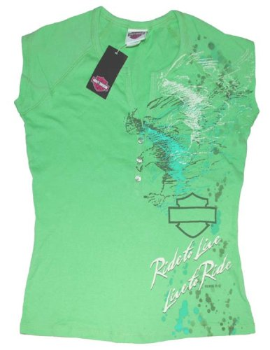 Harley-Davidson® Women's Mint Green V-Neck Henley Tank Top Tri-Eagle T-Shirt. House of Harley-Davidson® Milwaukee USA. All Cotton. R737525223