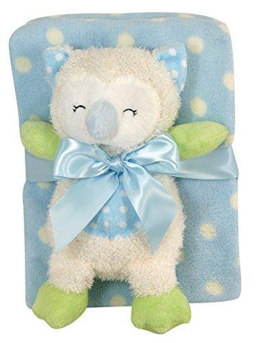 Stephan Baby Sleepy Owl Polka Dot Plush Blanket and Plush Owl Gift Set, Blue and White - 1