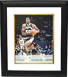 David Robinson signed San Antonio Spurs 16x20 Photo Custom Framed black jersey by Athlon+Sports+Collectibles