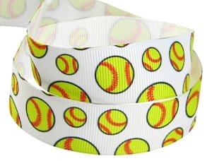 HipGirl Brand Printed Grosgrain Ribbon, 5 -Yard 7/8-Inch Softball, Yellow, Perfect for Team Hair Bows, Cheer Leader Pony Streamers, Scrapbook and More (Dora Shower Head compare prices)