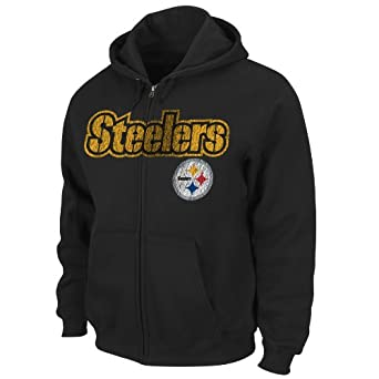 NFL Pittsburgh Steelers Touchbck III Full Zip Jacket Adult Long Sleeved Fullzip Hooded Fleece, Black, Large