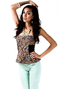 Floral Zippered Bustier in Multicolour