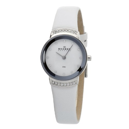 Skagen Stainless Steel White Label Women's Quartz Watch with White Dial Analogue Display and White Leather Strap 812SSLW1