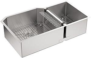 "KOHLER K-5282-NA Strive 35-1/2"" x 20-1/4"" x 9-5/16"" Undermount Double-Bowl Kitchen Sink with Basin Rack, X-Large/Medium, Stainless Steel"