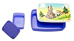 Signoraware Castle Easy Plastic Lunch Box Set, 2-Pieces, Violet