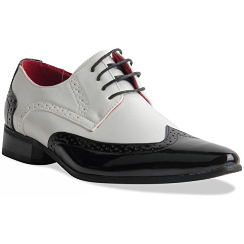 Two Tone Lace Up Black and White Gangster Style Brogues