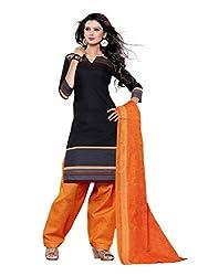 SayShopp Fashion Women's Unstitched Regular Wear Cotton Printed Salwar Suit Dress Material (ZDM-11_Black,Orange_Free Size)