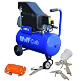 Wolf Cub 24 Litre, 1.5HP, 6.35CFM, 230v, MWP 116psi Air Compressor + 4 Piece Air Tool Kit 5 Meter COIL Hose