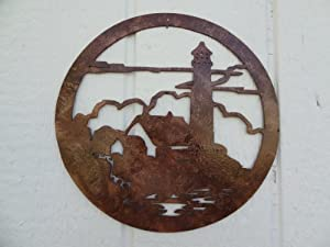 Lighthouse Scene Round Metal Wall Art Home Decor Antique Copper Color