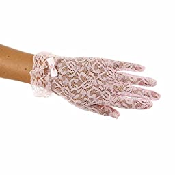 Lace Gloves for Girls in Wrist Length (Pink Age 13-15)