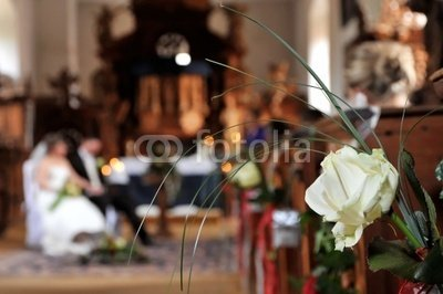 "Wallmonkeys Peel and Stick Wall Decals - Rose Jewellery at the Wedding in Church Pews - 24""W x 16""H Removable Graphic"