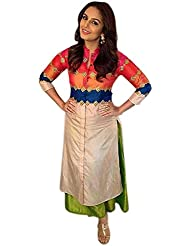 Alethia Multicolor Color Party Wear Embroidered Banglori Silk Semi-Stitched Salwar Suit-ALG631DL1003HU