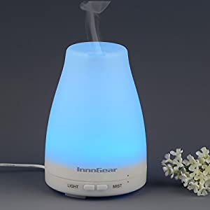 InnoGear® 100ml Aromatherapy Essential Oil Diffuser Portable Ultrasonic Cool Mist Aroma Humidifier With Color LED Lights Changing and Waterless Auto Shut-off Fuction for Home Office Bedroom Room