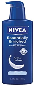 Nivea Essentially Enriched Daily Lotion Very Dry, Rough Skin, Almond oil, Sea Minerals 8.4 fl oz (250 ml) (Pack of 4)