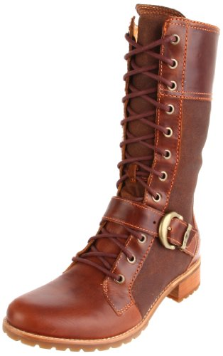 Timberland Women's Bethel Buckle Mid Lace Boot Brown Side Zip Boots 26640 8 UK